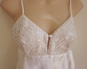 SALE Victoria's Secret nightgown babydoll camisole sexy white sequin lingerie S