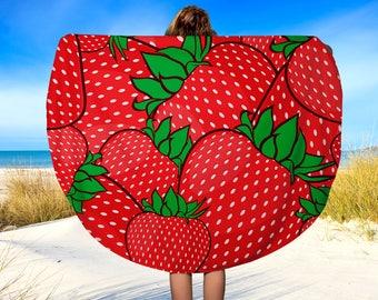 "Round Beach Towel, Strawberry Beach towel, Beach Blanket, Yoga Blanket, 60"""