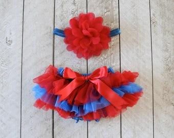TEAM COLORS Baby Girl Ruffle Bottom Tutu Bloomer & Headband Set in Red and Royal Blue - Newborn Photo - Cake Smash - Diaper Cover -Baby Gift