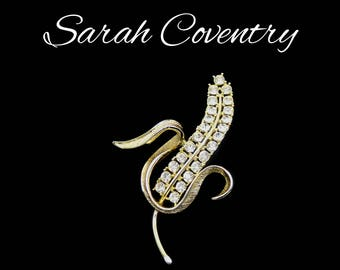 "Sarah Coventry Rhinestone Brooch, ""Radiance"" Hostess Credit, Large Gold & Rhinestone Brooch, Little Big Town Style, Gift For Her"