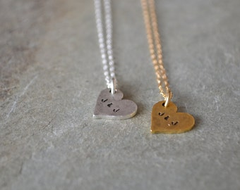 Simple personalized heart necklace, silver or gold mini heart valentine jewelry - initial engraved