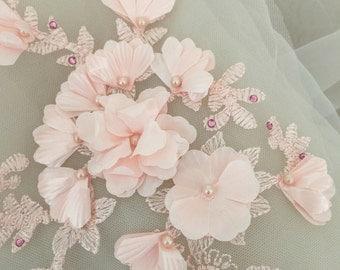 Beaded lace applique in blush , 3D wedding lace applique, bridal gown dress veil applique 2 pieces