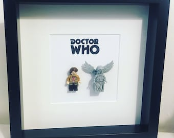 Doctor Who Lego Minifigure Frame.  Dr Who Timelord Weeping Angel. Matt Smith.