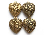 ONE brass heart, double sided charm, puffy vintage heart, heart charms, jewelry supply, from Elizabeth Rosen