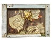 Secret Garden, 6x4 small mixed media asemblage, found object art, primitive folk art bee by Elizabeth Rosen