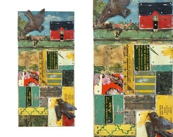 Love at First Sight, original tin art, love birds, mixed media tin mosaic, red barn on a patchwork field, by Elizabeth Rosen