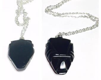 Vintage Tribal Mask Pendant/Necklace, Carved black Stone, Item No. B196