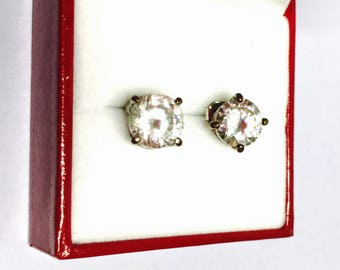 Vintage Stud Earrings, Silver/Plated, 8.mm Clear Stone, Clearance Sale, Item No. S372