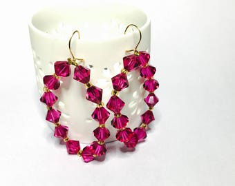 Large Fucshia Swarovski CRYSTAL Earrings gold filled wire, Half off Sale, item no S077