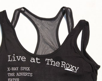 Punk Vest -Black mesh tank top Live at The Roxy- Punk gig poster -buzzcocks xray spex - racerback -see through- black cotton  Womens