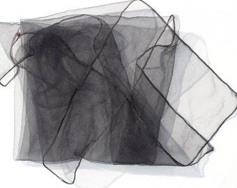 Vintage Mesh Scarf - Black see through net fabric Retro Pocket Square  Sheer -Necktie - Hair Bow -Accessory
