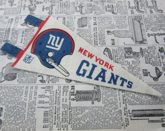 Vintage New York Giants NY Giants Football Pennant 1970s 7 Inch Mini Felt Pennant Banner Flag vtg Collectible Vintage NFL Display Sports