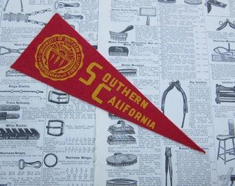 Vintage College Pennant USC Southern California Trojans 9 1/2 Inch School vtg SMALL MINI Felt Pennant Flag 1940s-1960s Dorm Sports Decor