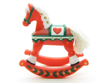 Rocking Horse Merry Miniatures Hallmark Christmas Decoration Vintage 1982 Scandinavian Dala Horse