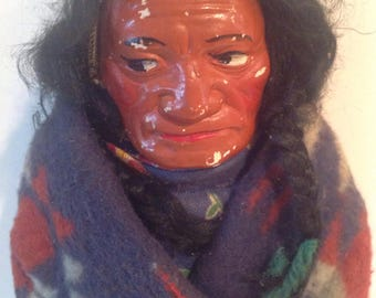 """14"""" Skookum Chief in Blue and Red Pendleton type Blanket, Native American Indian Doll"""