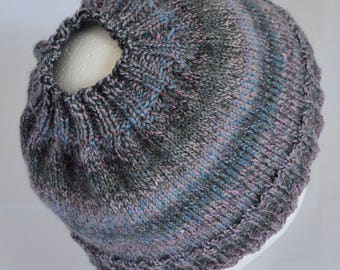 Messy Bun Hat, Ponytail Hat, Running Hat,Striped Bun Beanie, Bad Hair Day Hat, Hiking Beanie, Light Weight wool