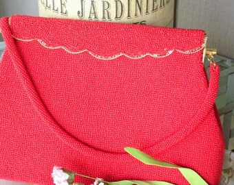 Vintage Red Seed Beaded Purse with Gold Finishes