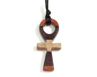 Ankh Necklace - Wooden Ankh Necklace - Carved Ankh - Mens Necklace - Womens Pendant