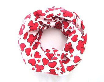 Red Heart Scarf, Child Scarf, Infinity Scarf, Toddler Scarf, Baby Bib Scarf, Girl Scarf, Children Clothing, Under 10 Dollars, Ready to Ship