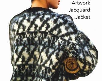 Vintage Mohair Crochet Jacket Pattern, Bulky, Chunky, Thick, Crochet PDF Pattern, Crochet Instant Download