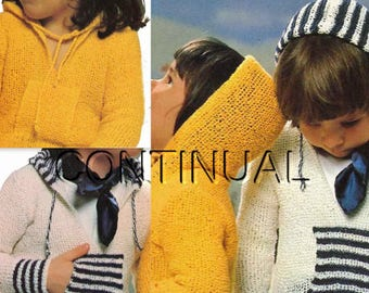 Knit Child Hooded Pullover Sweater Knitting PDF Pattern, Knitting Instant Download