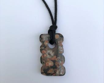 CLEARANCE - Mama Necklace / Nursing Necklace - Leopardskin Jasper Gemstone on black Cotton Cord (Adjustable)