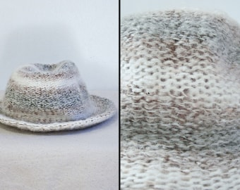 Marbled Wool FEDORA Brown Grey Cream Wool Brim Winter Hat 21 Inches
