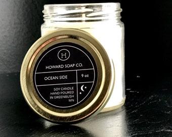 OCEAN SIDE Candle>> 9 oz/4 oz/howard soap company/minnesota made