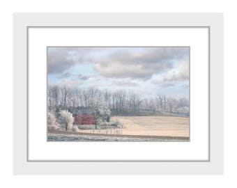 Winter Field with Red Barn