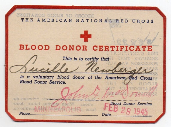 February 28 1945 American National Red Cross Blood Donor Card