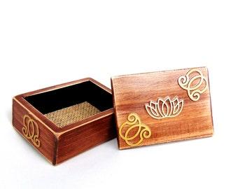 Rustic Lotus Engagement Ring Box - Ring Bearer Box - Wedding Ring Pillows - Lotus Box