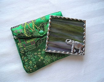 Stained Glass Purse Mirror|Pocket Mirror|Elephant With Raised Trunk|Elephant  Mirror|Green-Plum|Protective Pouch|Handcrafted|Made in USA