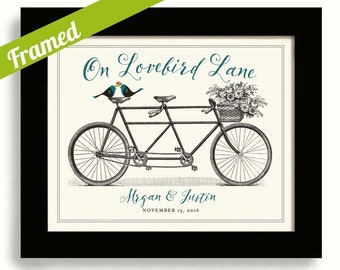 Personalized Wedding Gift Lovebird Lane Tandem Bicycle Built for Two Unique Engagement Gift Unique Wedding Gift Wedding Couples Street Name