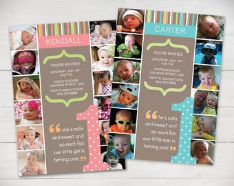 The First Year 1st Birthday Invitation (Boy or Girl) Light Colors - Digital File