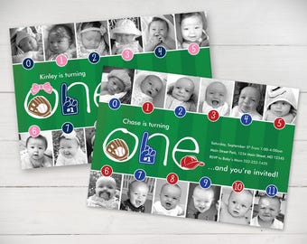 Baseball Timeline First Birthday Invitation (for girl or boy) – Your Choice of Team Colors