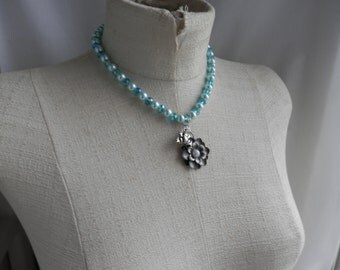 Light Blue Crystal and Glass Pearl necklace with a FLOWER and FROG charm Necklace
