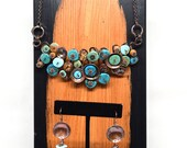 Custom order for Stephanie O - Turquoise and Wood Copper Necklace and Earring Set