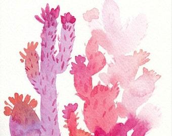 Watercolor Cactus Art, Original Watercolor Painting, 5x7, pink cactus, watercolor cactus, coral watercolor, cactus painting, fine art, cacti