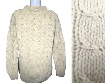Vintage Aran Sweater // Vintage Fisherman Sweater // Irish O'Gorman Sweater// Men's Vintage Sweater // Men's Vintage Jumper // XL/L  Tall