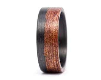Men's carbon fiber and bentwood ring. Natural wooden cedro wood wedding band. Water resistant, very durable and hypoallergenic. (00405_7N)
