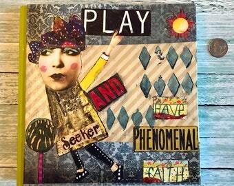 Mixed Media Art Journal Play Have Phenomenal Faith Blank Notebook