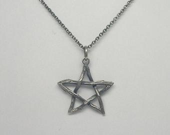 Twig Pentagram Pendant - Silver