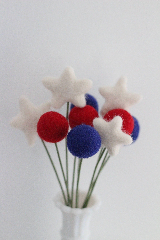 Red White & Blue Felt Pom Pom Flowers- Billy Ball Flowers- Fourth of ...