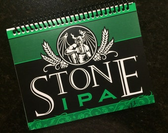 BEER Stone IPA  journal notebook book Upcycled Recycled spiral bound