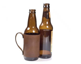 Leather Beer Holder / Beer Handle / gift for him / leather beer sleeve