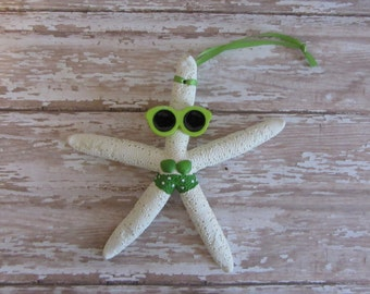 Beach Christmas Ornament - Beach Decor Starfish Christmas Ornament - REAL Starfish Green Bikini Ornament - Nautical Ornament