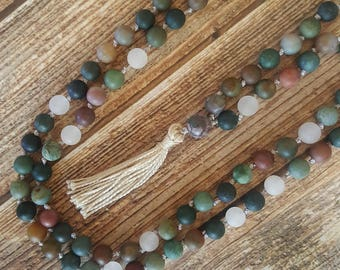 Hand Knotted Mala 108 Bead Mala Multi-Colored Jade Mala Beads Cream Tassel Mala Necklace Yoga Mala Meditation Necklace