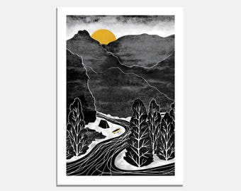 A4 or A3 Art Print - River Adventure / wall art / camping / wilderness / black and white / yellow / mountains / kayak / canoe / illustrated