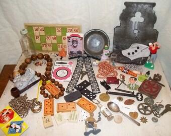 Destash Lot of Vintage Findings for Altered Art Etc. ( 65 plus pieces)
