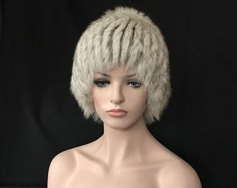 New Designer Russian Fur Wig Hat Polar FOX Knit Acrylic Beanie Style Base FW2 Arctic-Store® Arktika